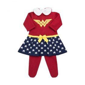 Conjunto bebê mulher maravilha - Vermelho e azul marinho