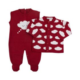 Conjunto bebê nuvem - Vermelho