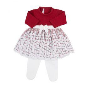 Conjunto bebê reda flôr com cristais swarovski - Vermelho