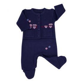 Conjunto bebê trenzinho - Azul marinho