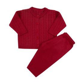 Conjunto bebê tricot trança - Vermelho
