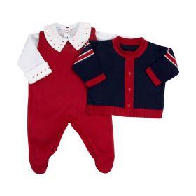 Conjunto bebê tricot três peças - Vermelho e azul marinho