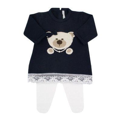 Saída de maternidade feminina vestido e calça ursinha - Azul profundo