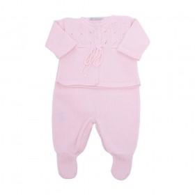 Conjunto bebê vazado - Rosa bebê