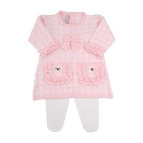 Conjunto bebê xadrez - Rosa bebê e branco