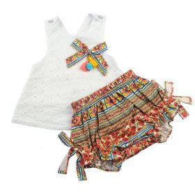 Conjunto bebê com bata e calcinha - Branco