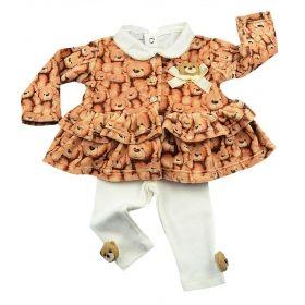 Conjunto bebê com body, casaco e calça - Marfim