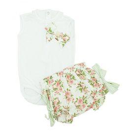 Conjunto bebê 2 peças - Branco e verde