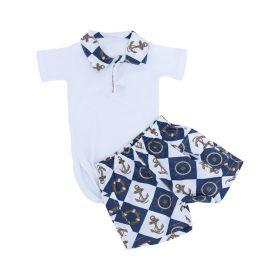 Conjunto bebê 2 peças - Branco e azul marinho