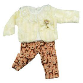 Conjunto bebê com calça, body e casaco - Marfim