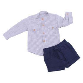 Conjunto bebê com camisa e bermuda - Off white e azul