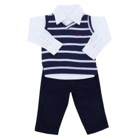 Conjunto com camisa, pullover listrado e calça 3 peças - Azul marinho/Branco