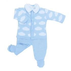 Conjunto bebê em tricot nuvem 3 peças - Azul bebê