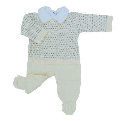 Conjunto bebê em tricot trançado 2 peças - Amarelo