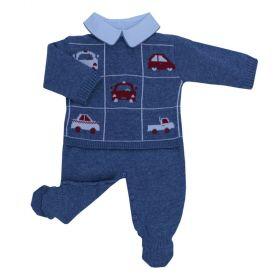Conjunto bebê carros com 3 peças - Jeans