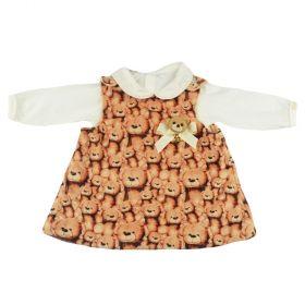 Conjunto bebê com vestido e body - Marfim