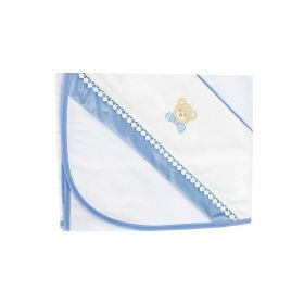 Cueiro bordado urso gravata - Branco e azul