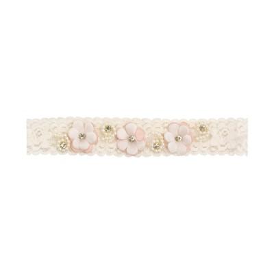 Faixa bebê com flor e pérolas - Rosê