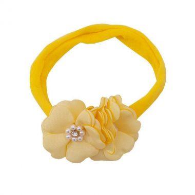 Faixa bebê de meia 2 flores - Amarelo