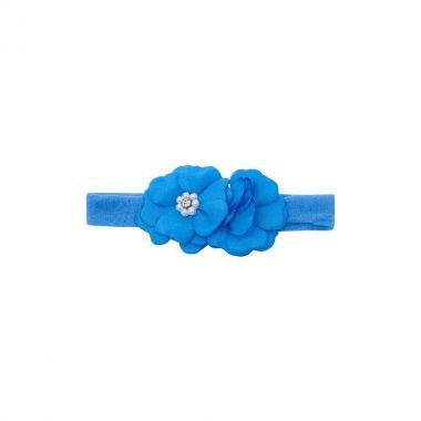 Faixa bebê de meia 2 flores - Azul turquesa