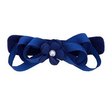 Faixa bebê de meia com flor e laços - Azul marinho