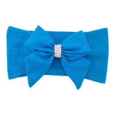 Faixa bebê de meia com laço - Azul turquesa
