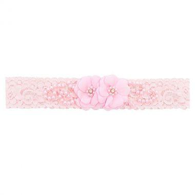 Faixa bebê de renda bordada - Rosa bebê