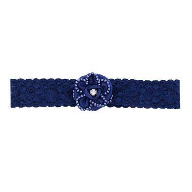 Faixa bebê de renda com flor - Azul marinho