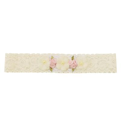 Faixa bebê de renda com flores - Off white