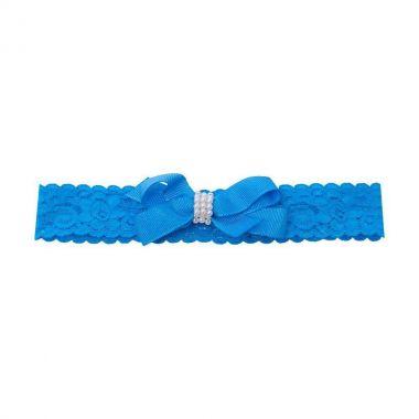 Faixa bebê de renda com laço e pérolas - Azul turquesa