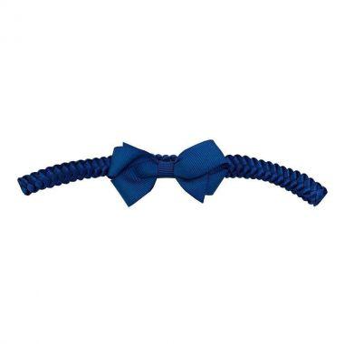 Faixa bebê de trança com laço em gorgurão - Azul marinho