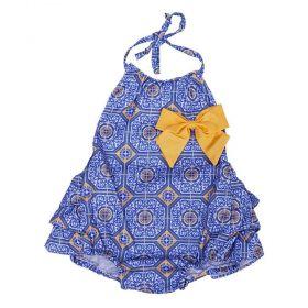 Jardineira bebê estampada com laço - Azul anil