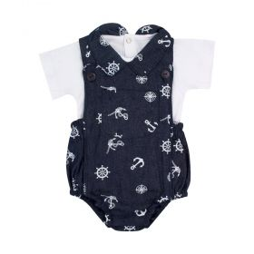 Jardineira bebê com body marinheiro - Jeans e branco