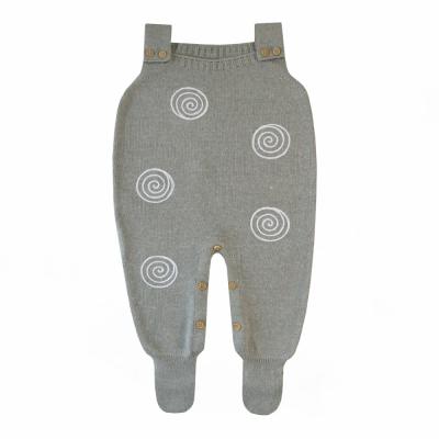 Jardineira bebê espiral - Cinza e branco