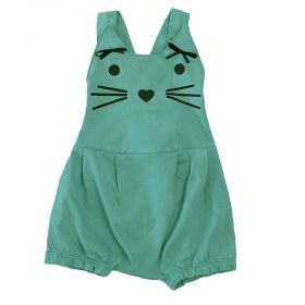 Jardineira bebê gatinha com laço - Verde