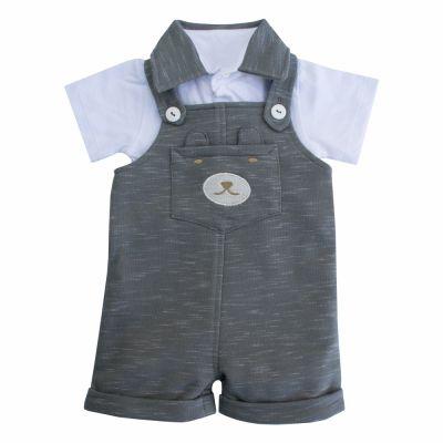 Jardineira bebê ursinho com body - Cinza
