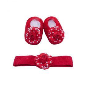 Kit bebê com sapatinho e faixa flor - Vermelho