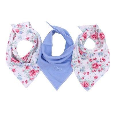 Kit com 3 babadores bandana floral - Marfim