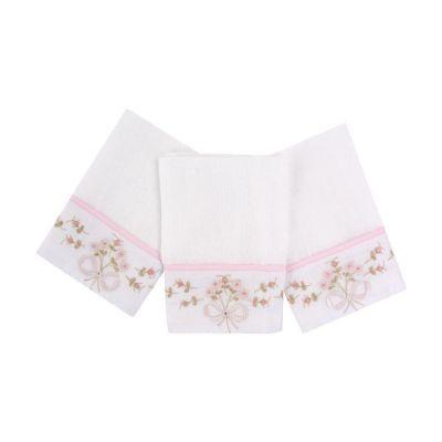 kit com 3 toalhas de boca bordadas - Branco e rosa
