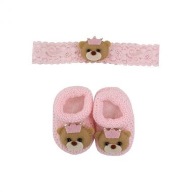 Kit sapatinho e faixa ursinha - Rosa bebê