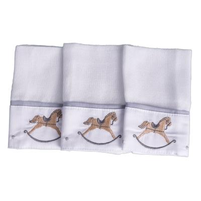 Kit toalha de boca cavalo 3 peças - Branco e cinza