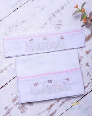 Kit toalha de boca com 2 peças borboleta - Branco e rosa
