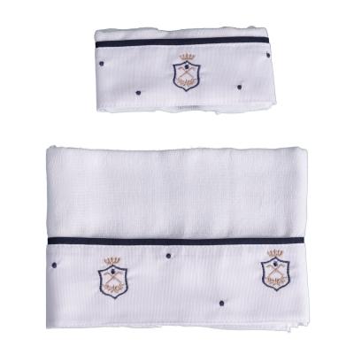 Kit toalha de boca com 2 peças brasão - Branco e azul marinho