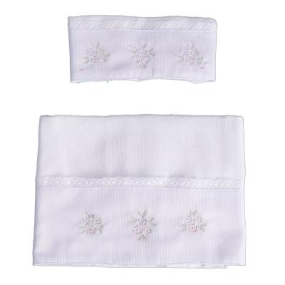 Kit toalha de boca com 2 peças flores - Branco e rosa