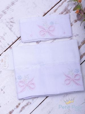 Kit toalha de boca com 2 peças laço - Branco e rosa