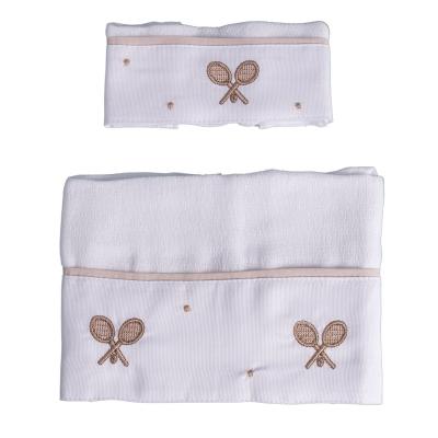 Kit toalha de boca com 2 peças raquete - Branco e bege
