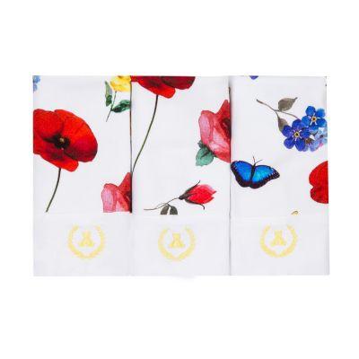 Kit toalha de boca com 3 peças borboleta - Branco