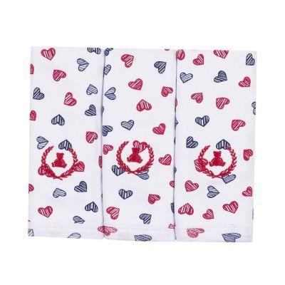 Kit toalha de boca com 3 peças coração - Branco