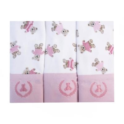 Kit toalha de boca com 3 peças ursinha - Branco e rosa bebê