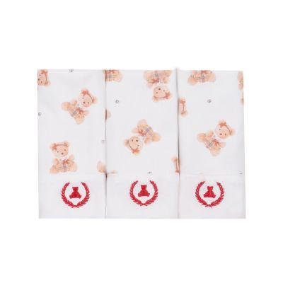 Kit toalha de boca com 3 peças ursinha - Off white